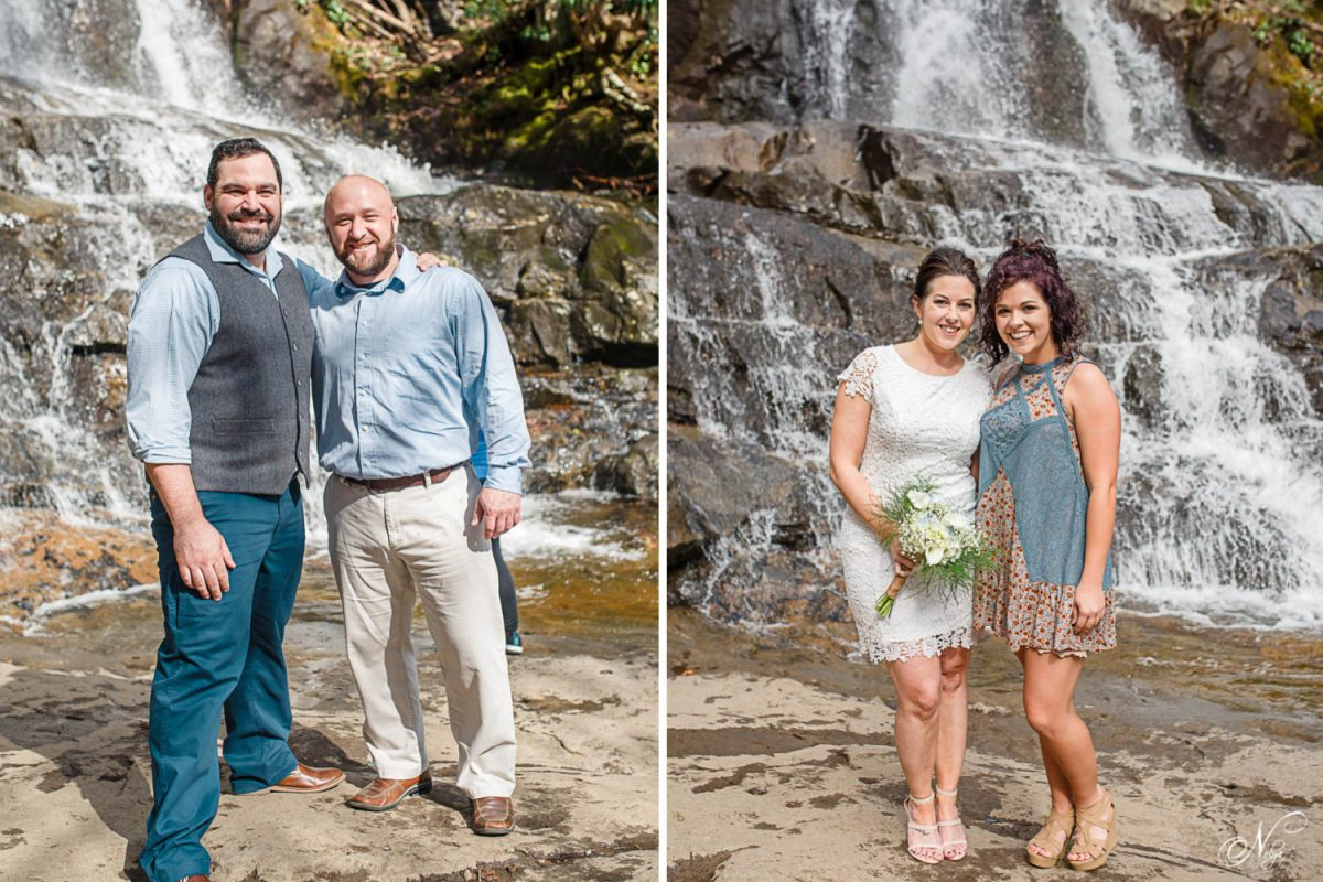 Hockey friends at laurel falls elopement Gatlinburg TNwaterfalls