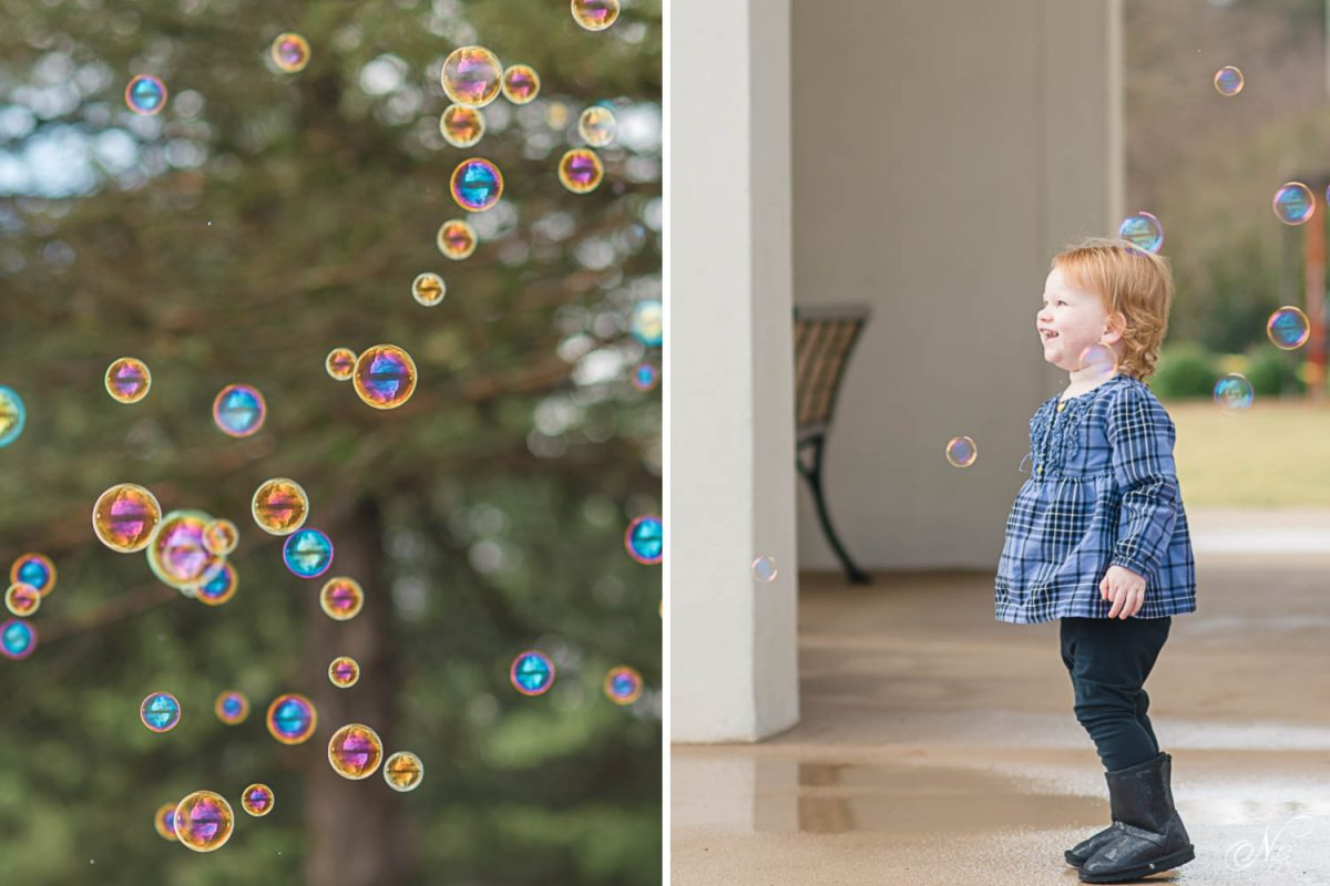 toddler and bubbles