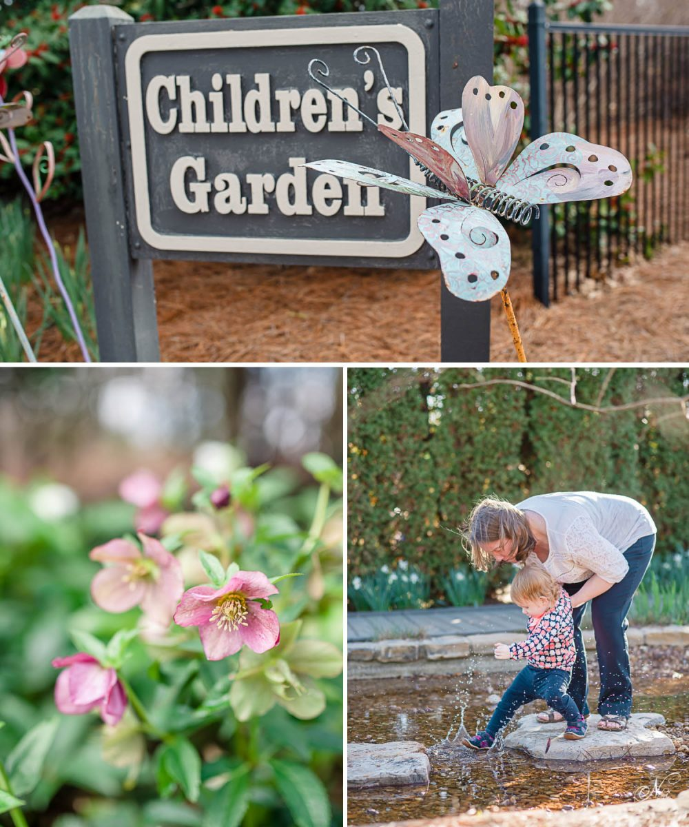Huntsville childrens garden sign and child stepping in water