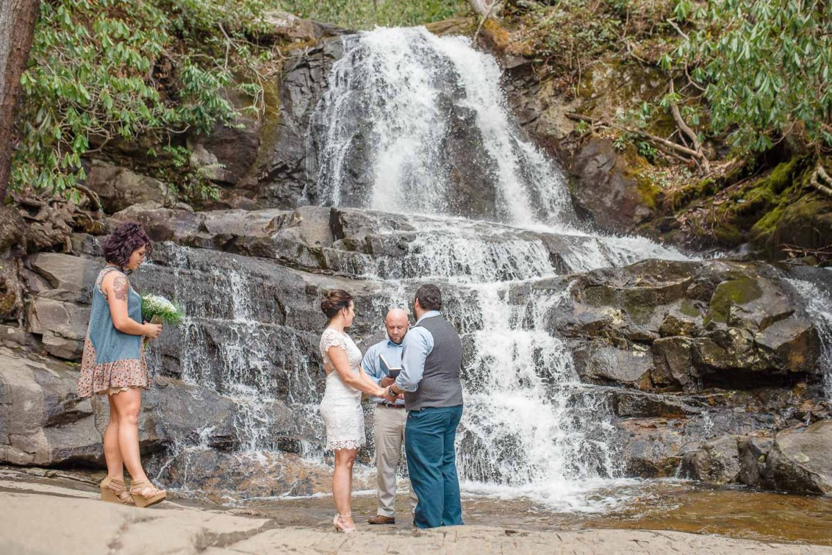couple in front of laurel falls getting married
