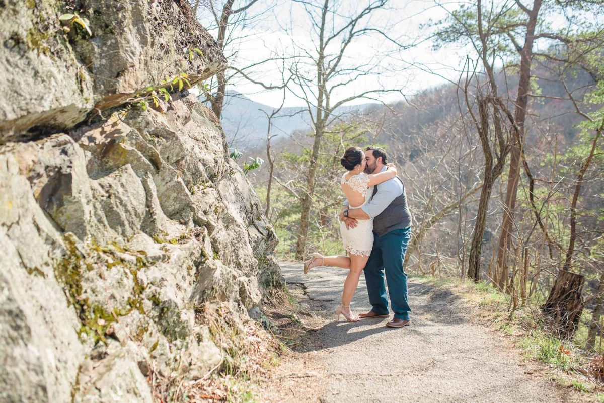 bride and groom hug at mountain elopement in TN