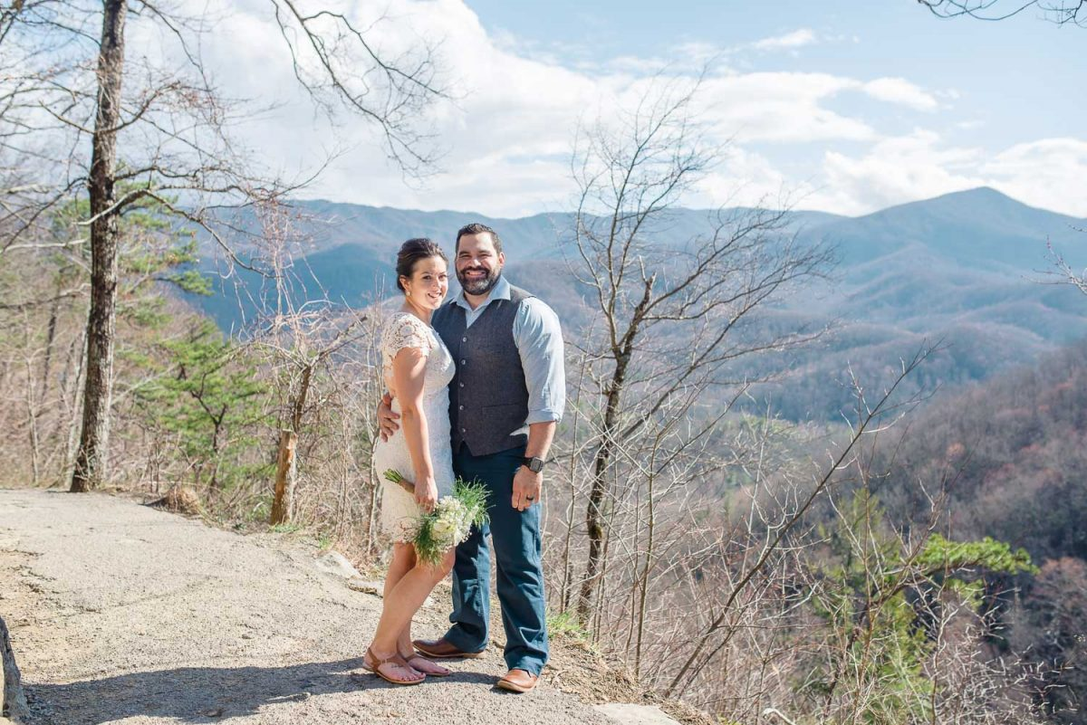 wedding couple and smoky mountain views from Laurel falls trail