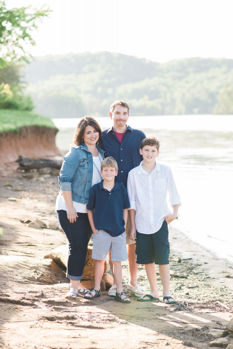 family on shore of Melton hill Lake