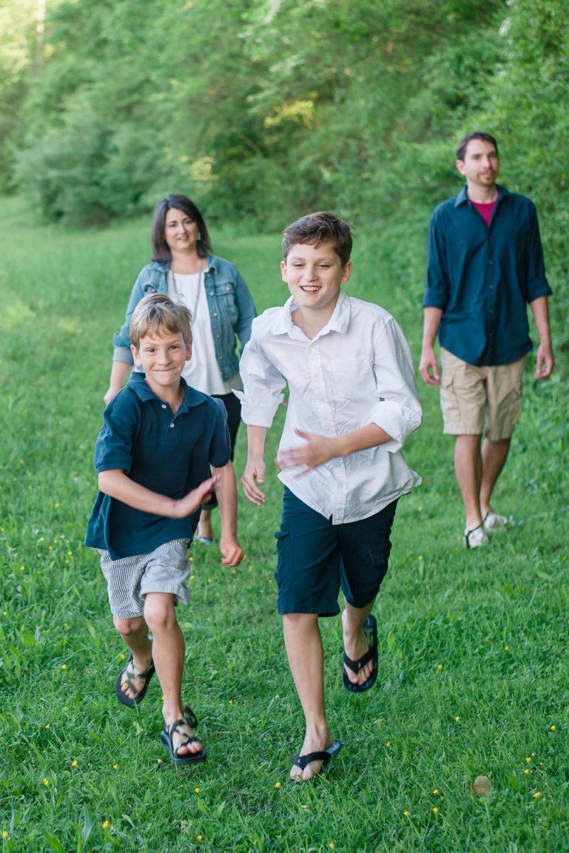 boys running towards camera at Knoxville park