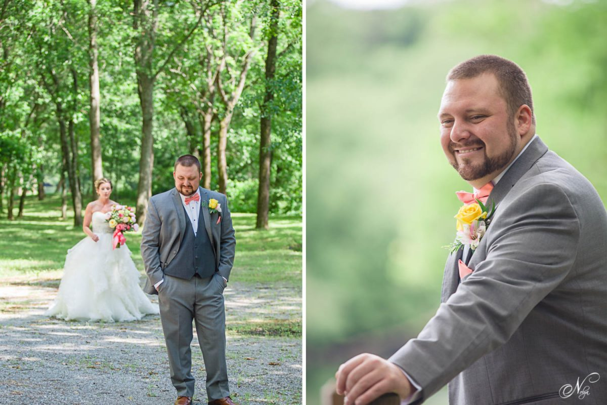 groom waiting for first look at Hiwassee River weddings