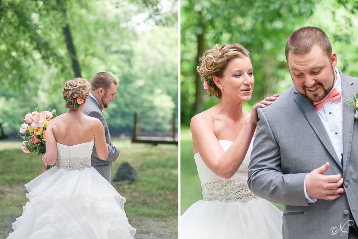 bride tapping groom on shoulder during first look in Delano TN