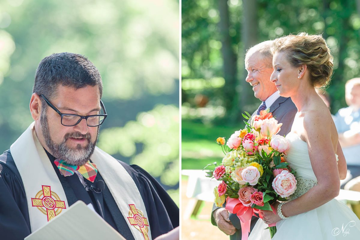 wedding officient and father of bride and bride