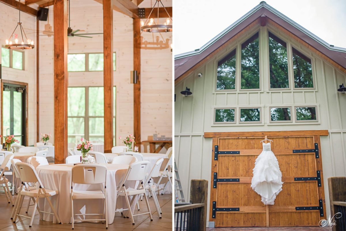 tables and chairs inside Hiwassee River Weddings and wedding dress hung on timber doors
