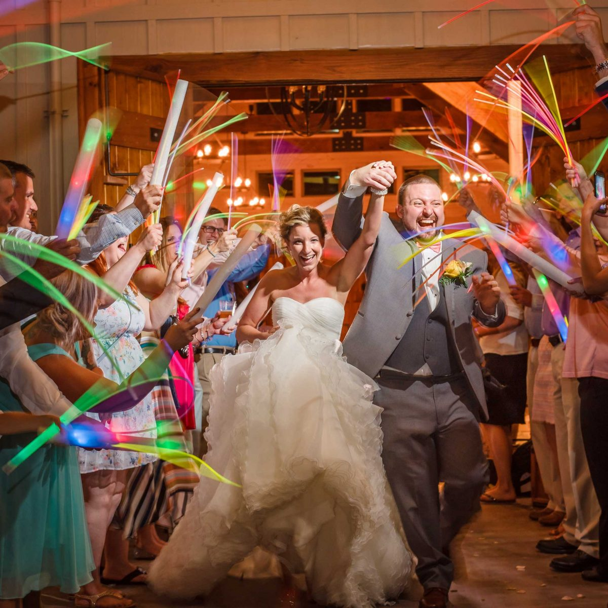 glow stick wedding exit at Hiwassee River Weddings in Delano TN