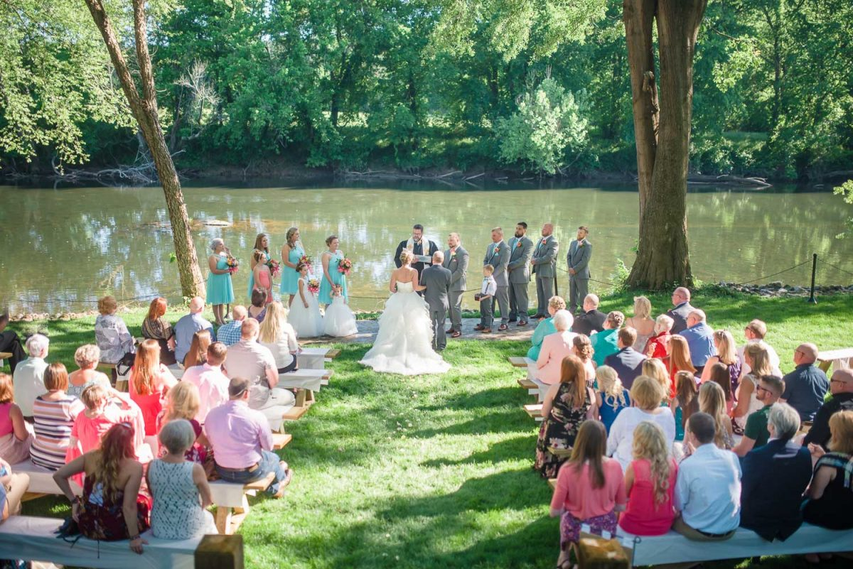outdoor southern wedding ceremony at Hiwassee River