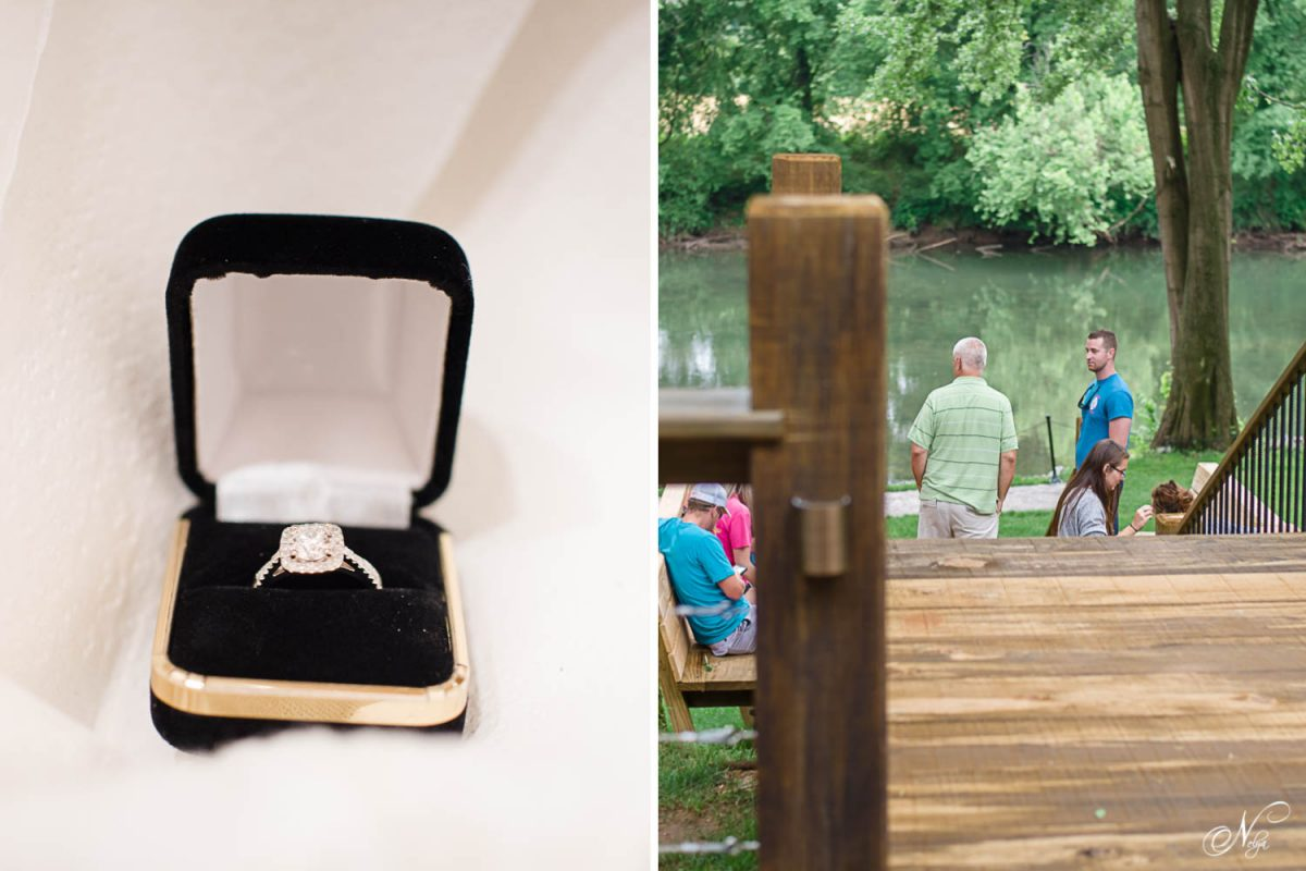 engagement ring in box and people looking at Hiwassee river