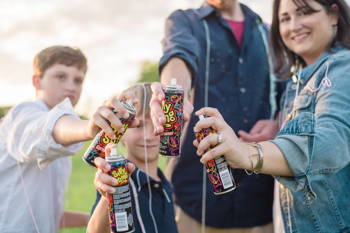 silly string battle for family photos