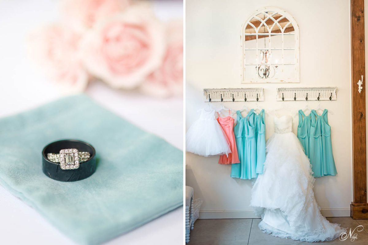 wedding ring and aqua bridesmaid dresses hanging on hooks