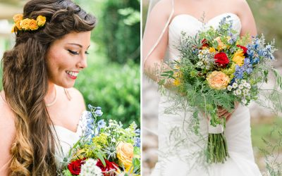 BRIDE LOOKING AT HER BOUQUET OF YELLOW ROSES AND SUNFLOWERS