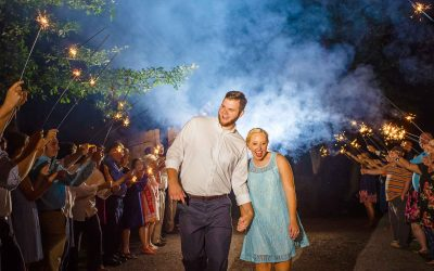 best sparkler wedding exit with bride in short blue lace dresse