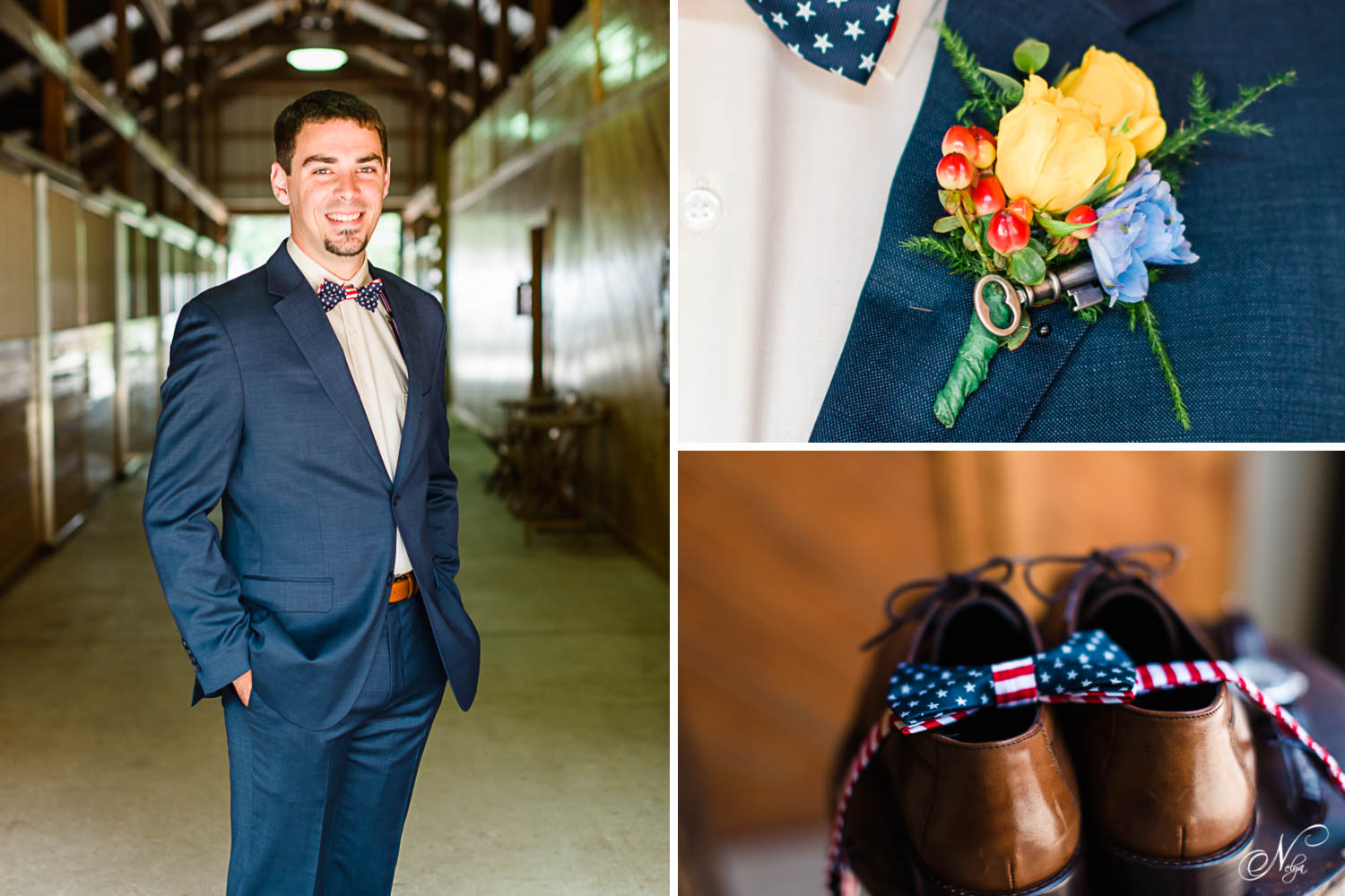 groom attire navy and patriotic bowtie