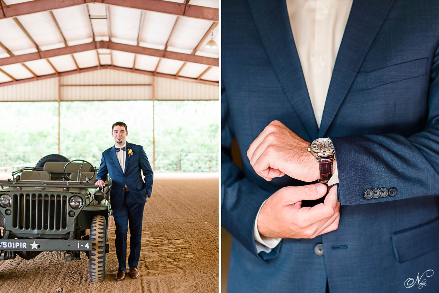groom standing next to wwii jeep and adjusting his watch
