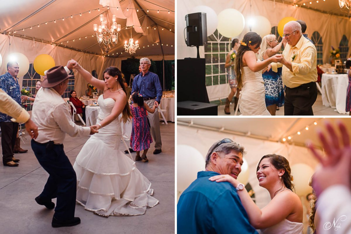bride dancing with grand parents at her wedding
