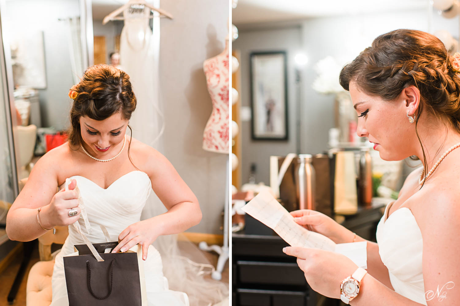 bride reading love letter from groom on her wedding day