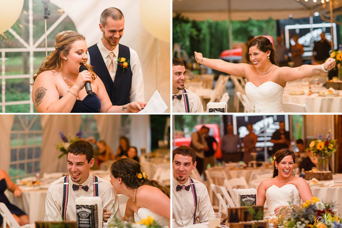maid of honor giving best toast ever to bride and groom