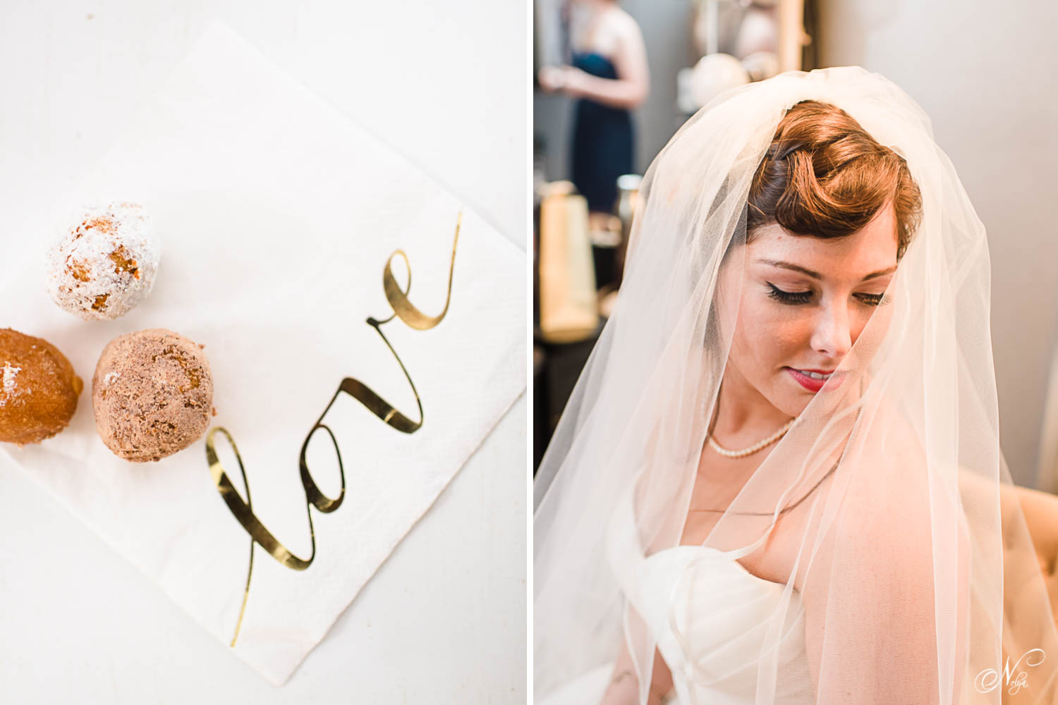 wedding donuts and bride with hair and make up by Southern Sirens in Knoxville