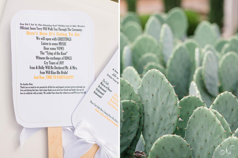 wedding program fans and cactus plants