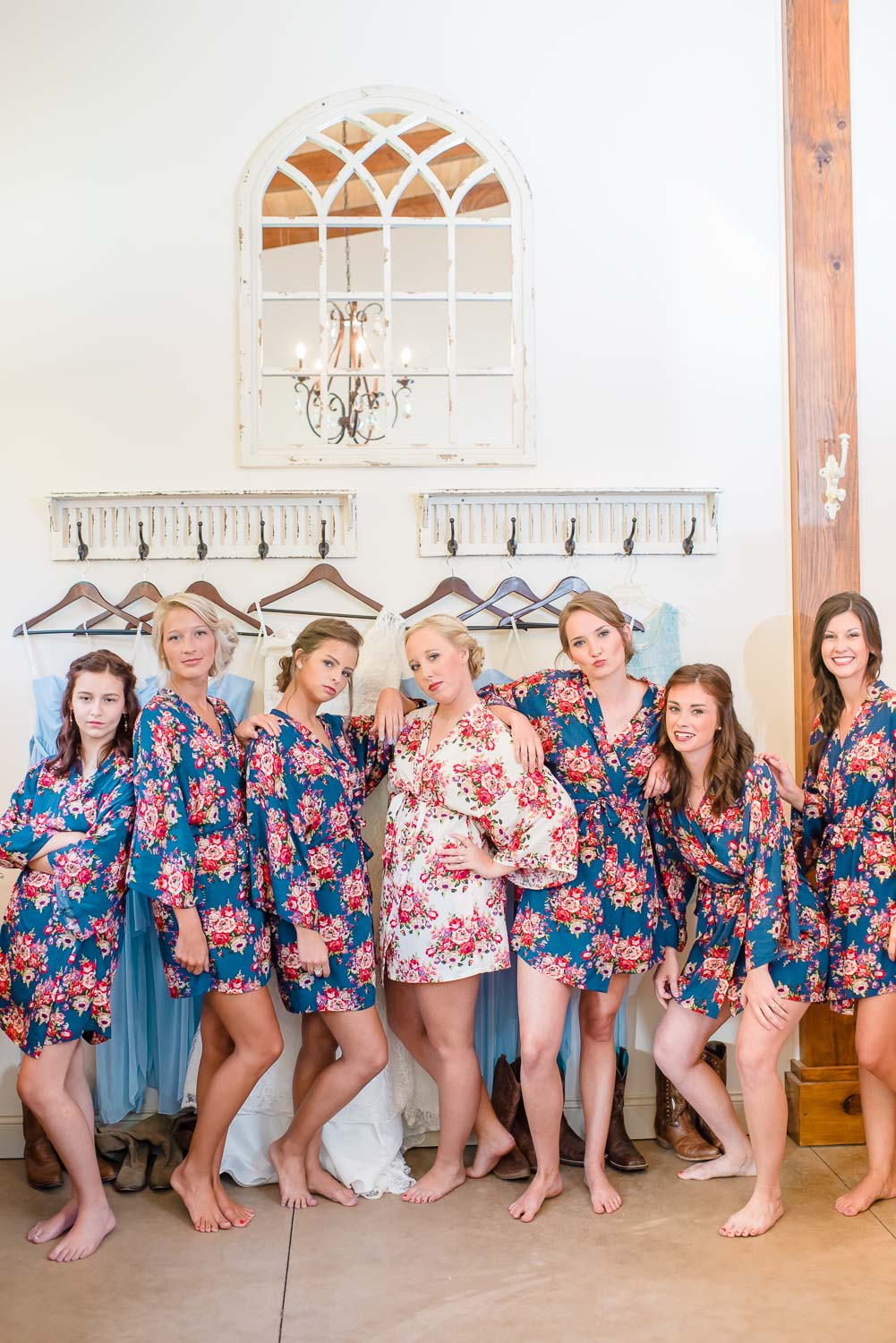 bridesmaids in cute floral robes