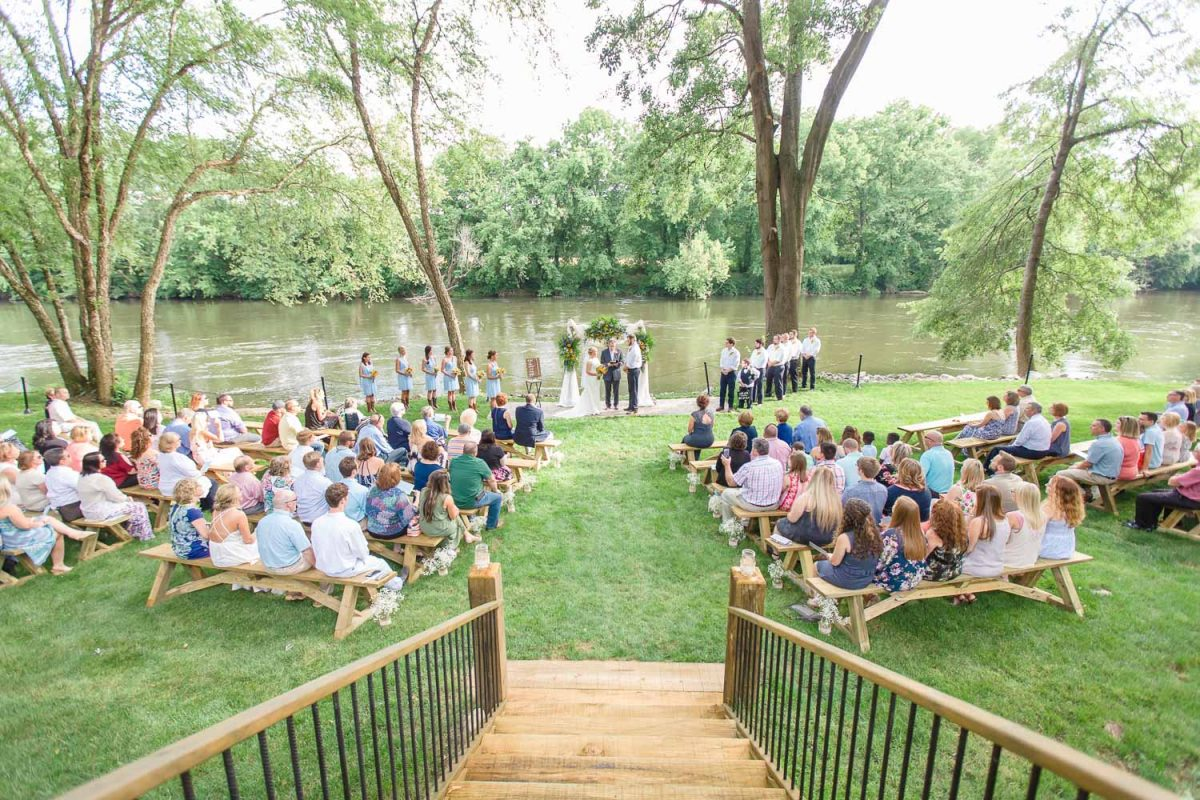 outdoor wedding ceremony site at Hiwassee River Weddings in Delano TN