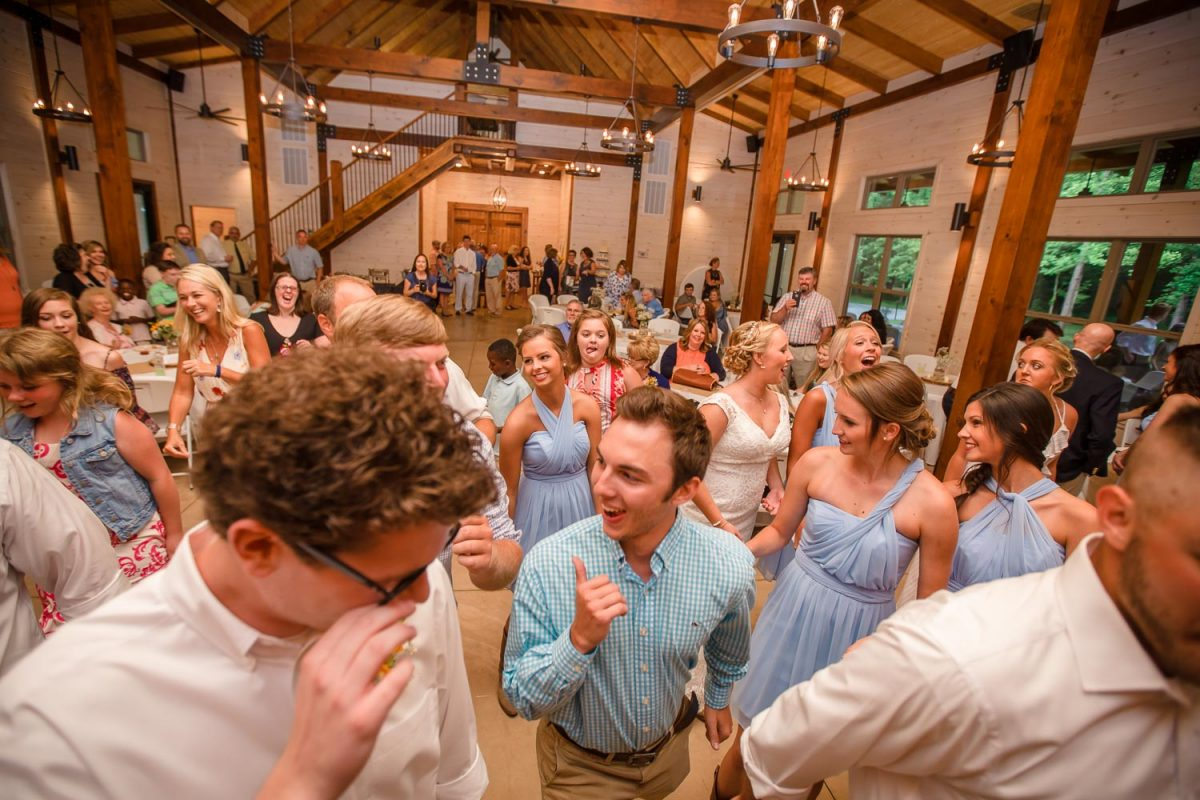 wedding reception dance floor at Hiwassee River Weddings