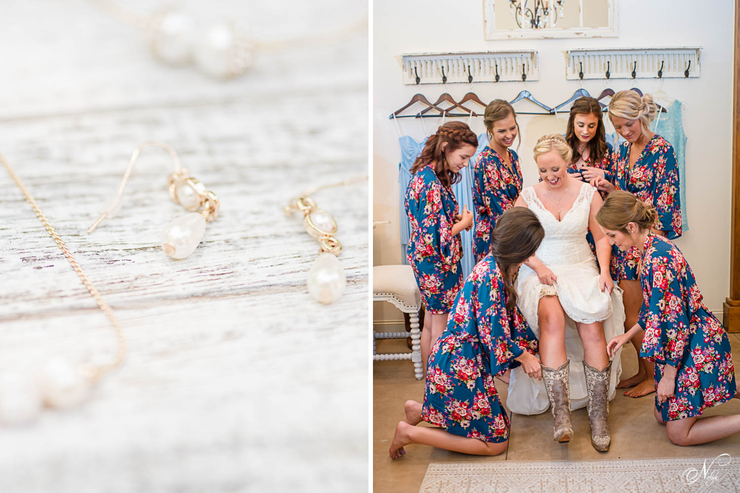 bridesmaids in cute navy floral robes helping put cowboy boots on bride