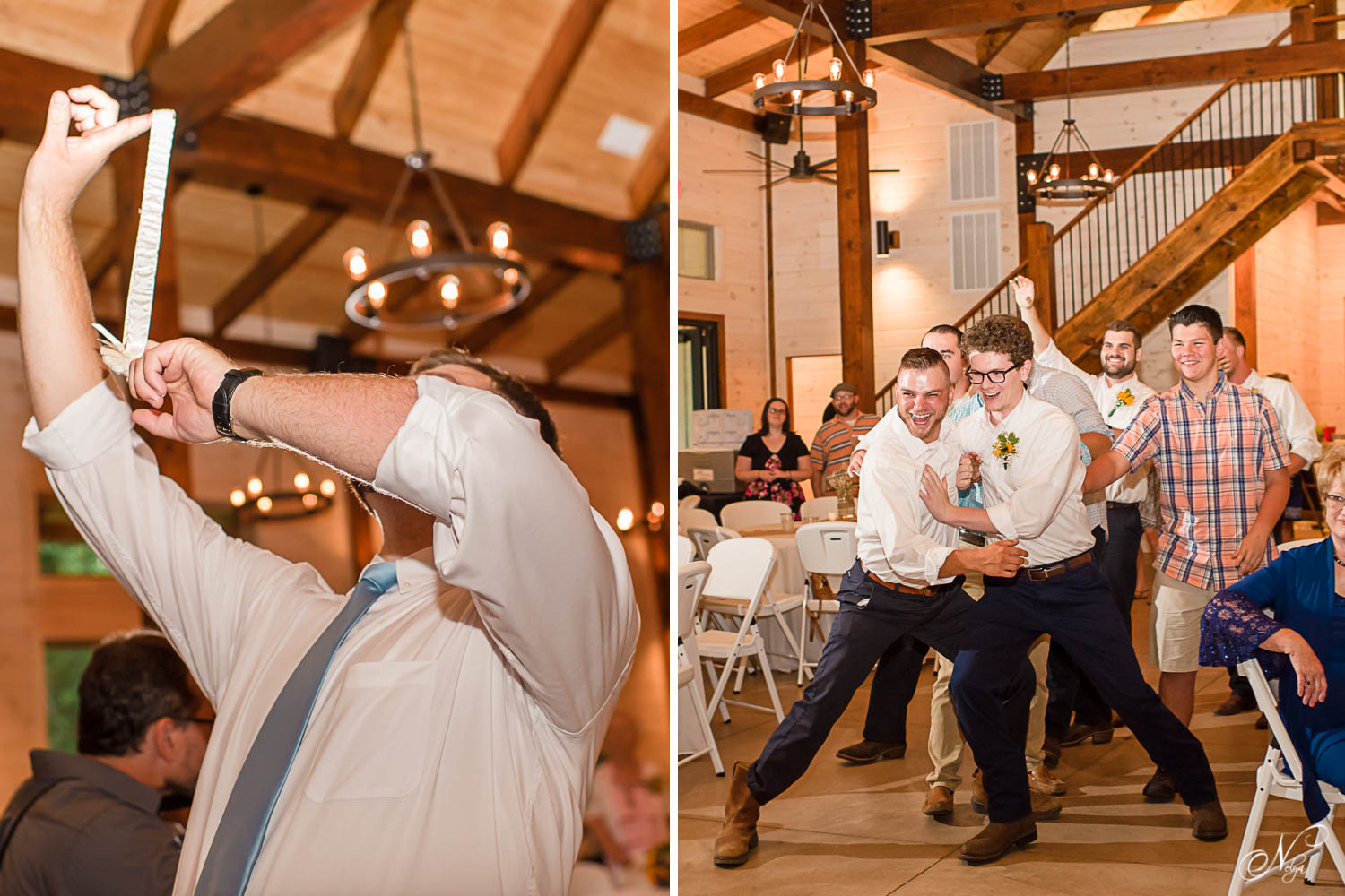 single guystrying to catch the garter during reception at Hiwassee River Weddings