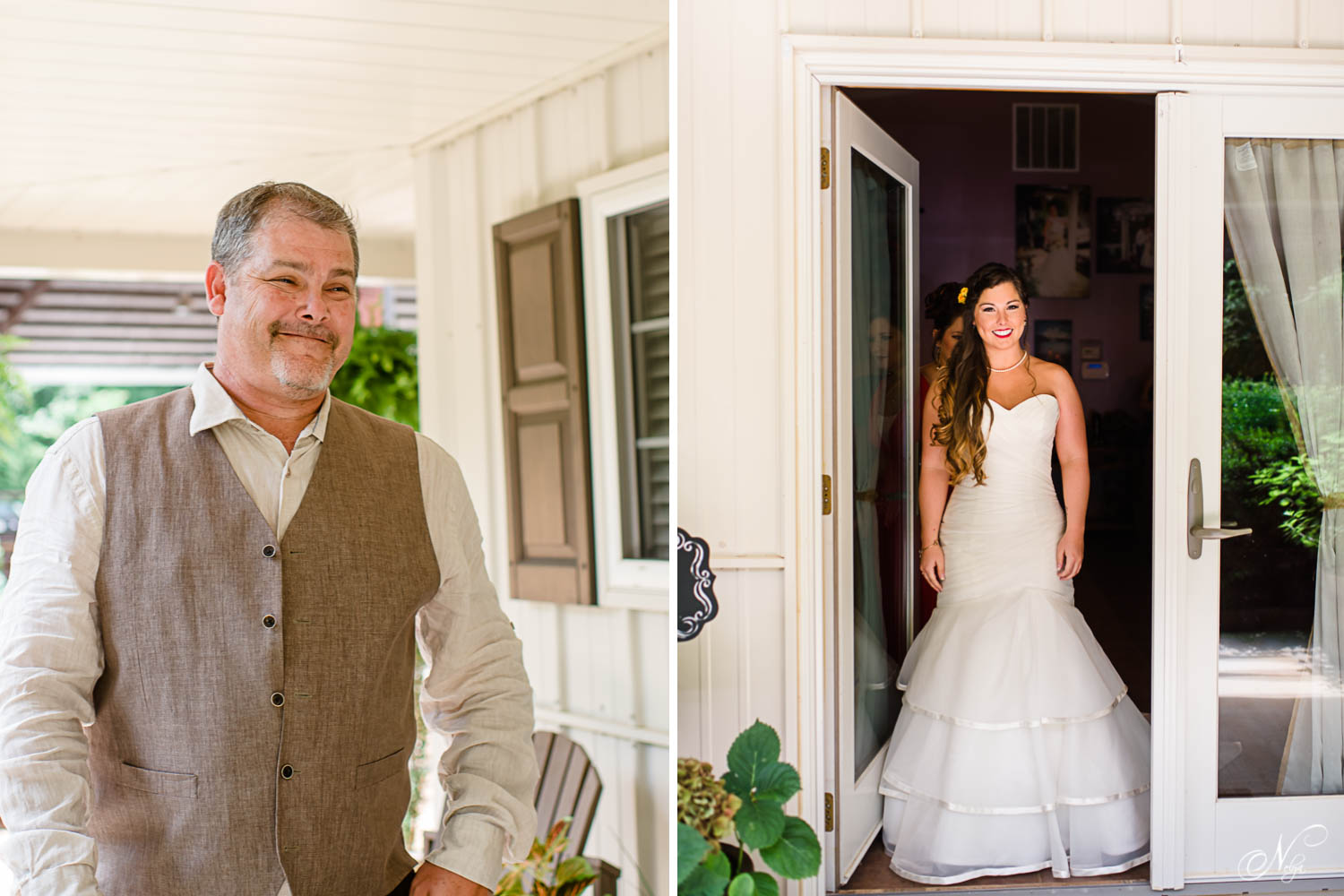 dad seeing his daughter in her wedding dress for the first time.