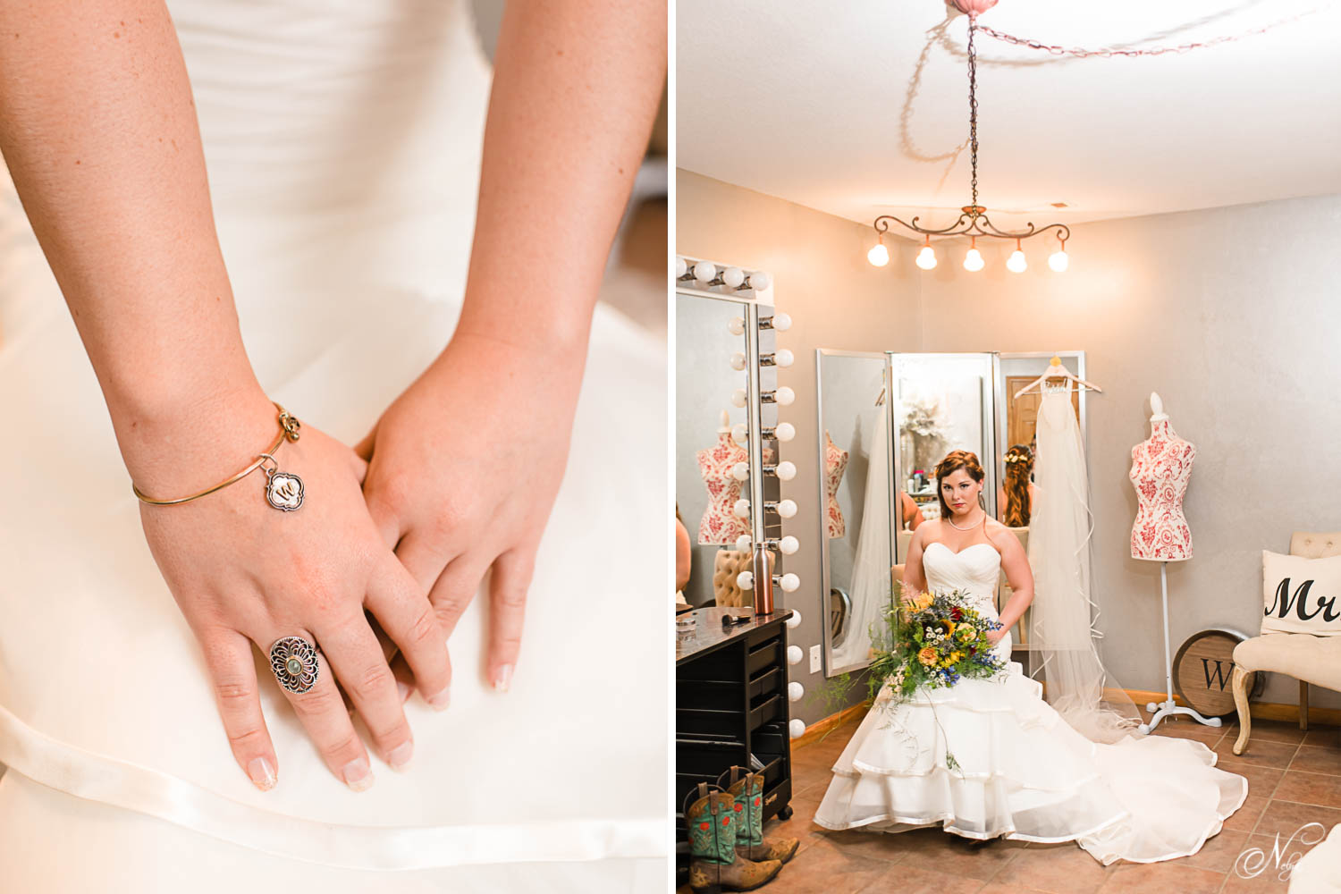 bride's hands with monogramed charm bracelet and bride sitting with bouquet in bridal suite at Sun dance farms in Knoxville