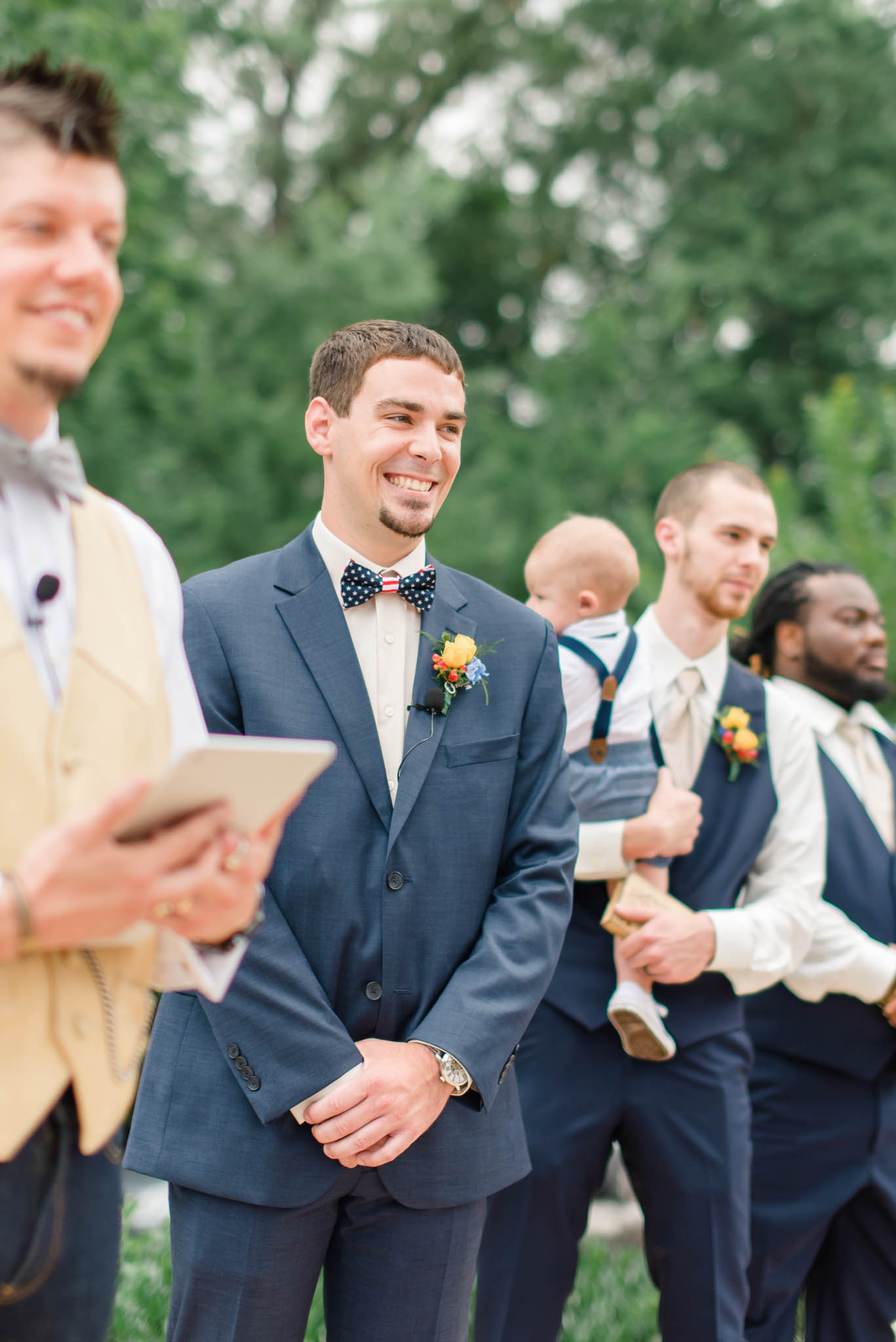 happy smiling groom at wedding ceremony in Knoxville