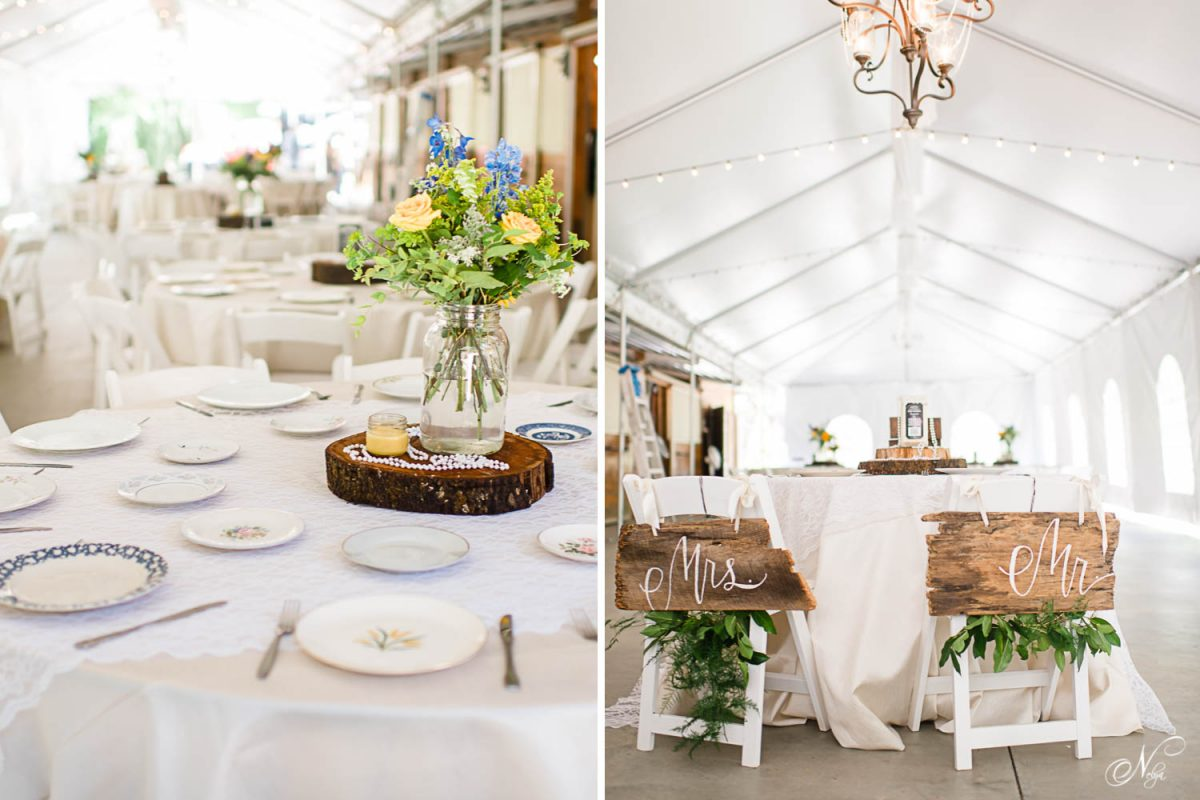 reception under the tent with miss matched china at Sun Dance wedding venue