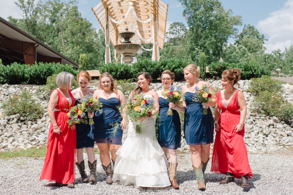 red white and navy bridesmaid dresses and mother of groom dresses