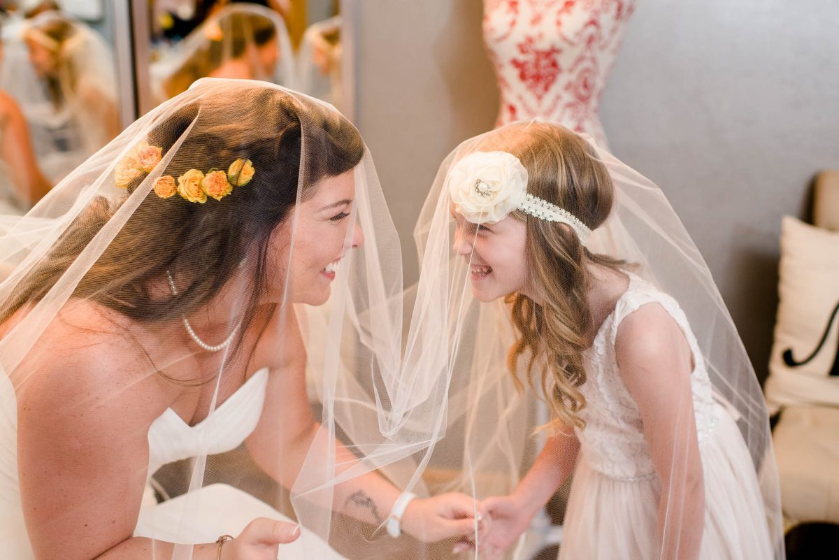 bride and flower girl photo under long veil