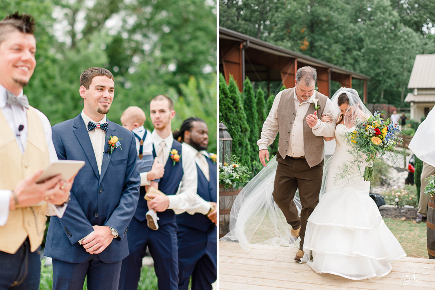 groom seeing his bride walkdown the aisle for the first time