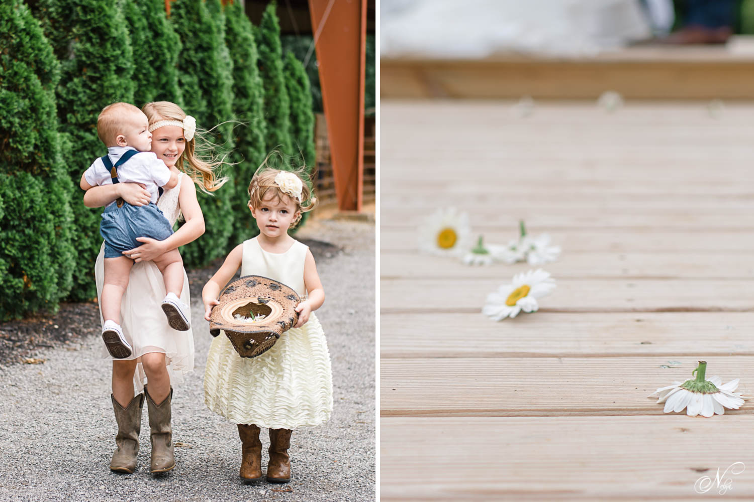 flower girls carrying ring bearer and daisies