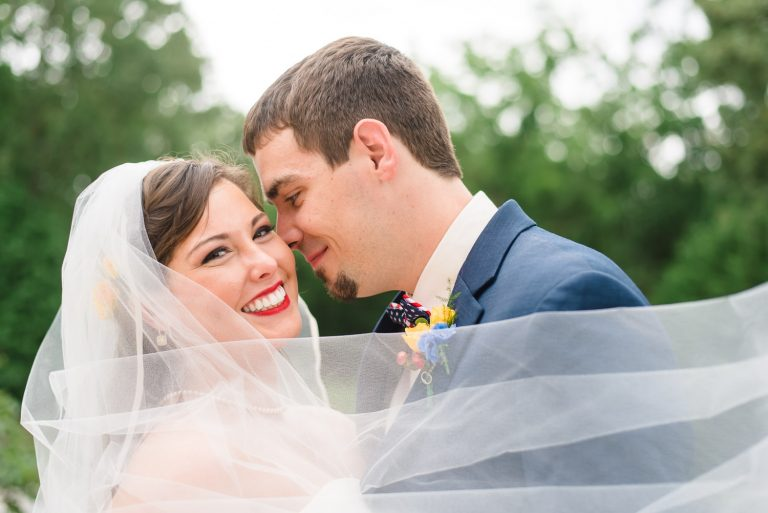 bride and groom wedding photos in june