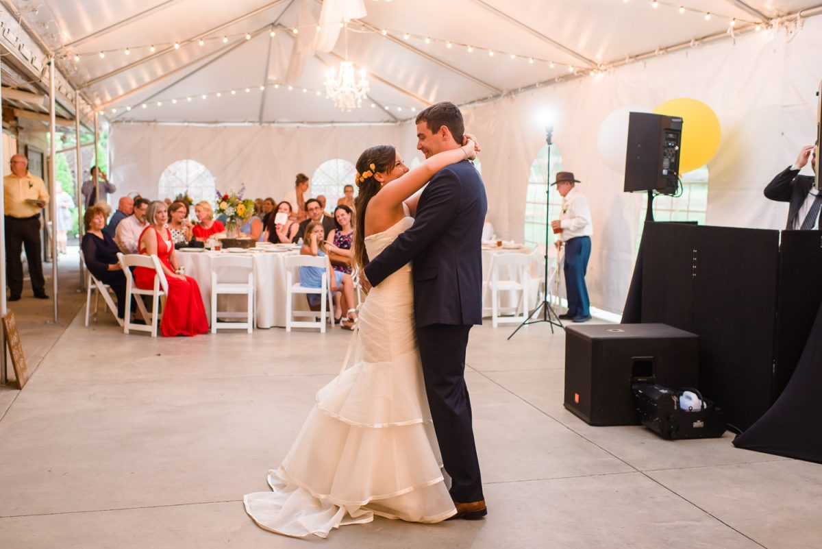 bride and grooms first dance to music by Special Notes in Knoxville
