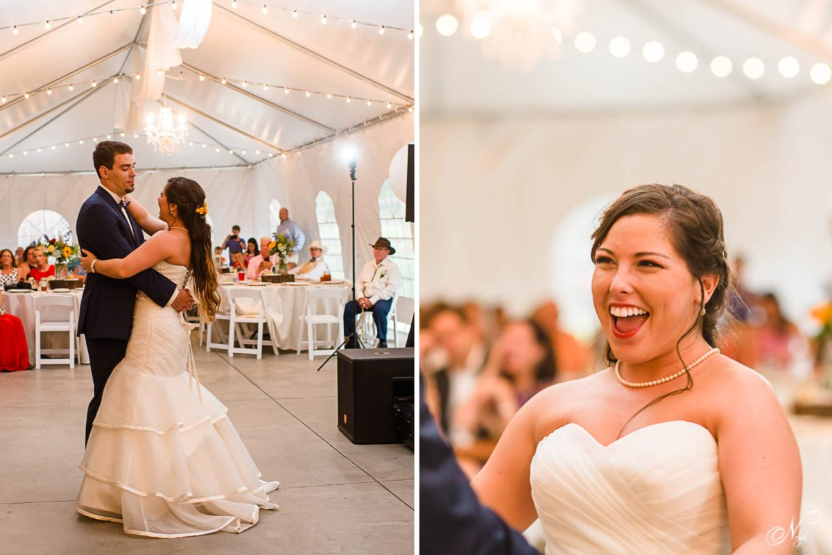 bride laughing with her husband during their first dance