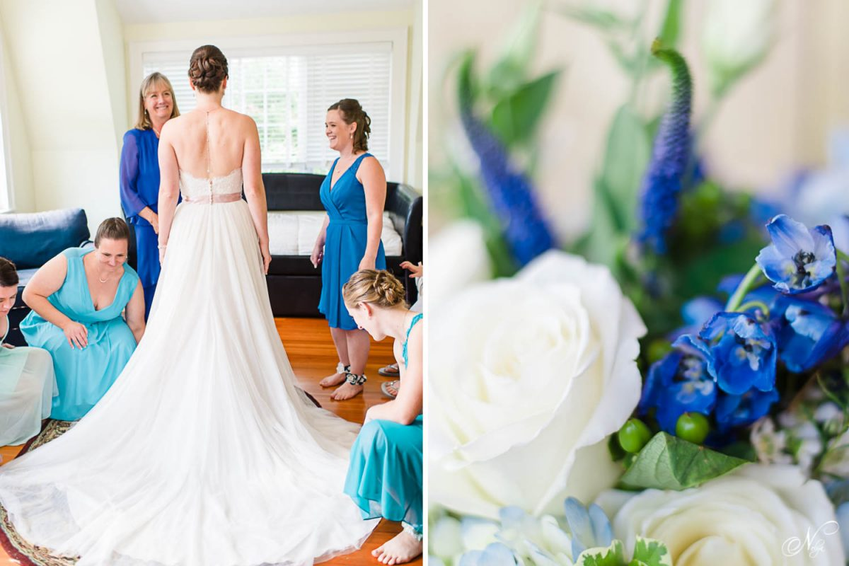 back of brides dress with mom looking on and blue bouquet