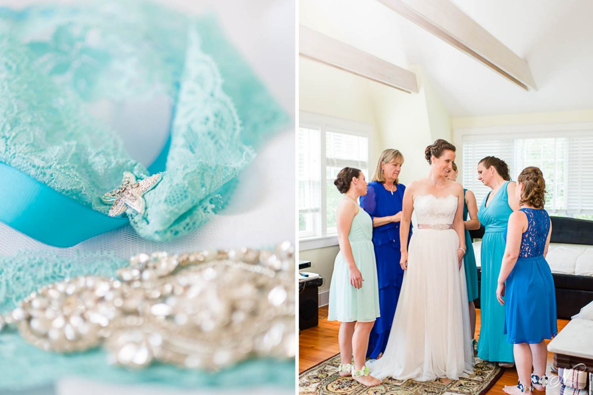 starfish details on toss garter and bridesmaids with bride getting ready