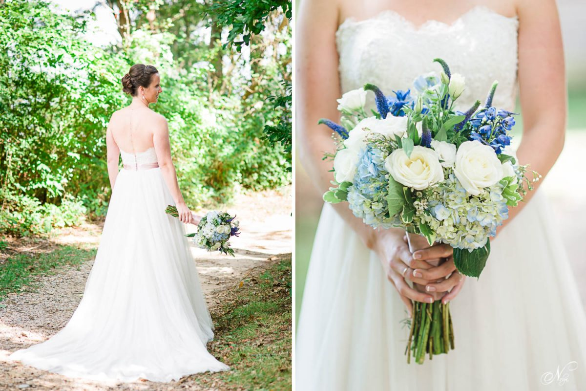 bride walking down tree covered path and bride holding bluewedding bouquet