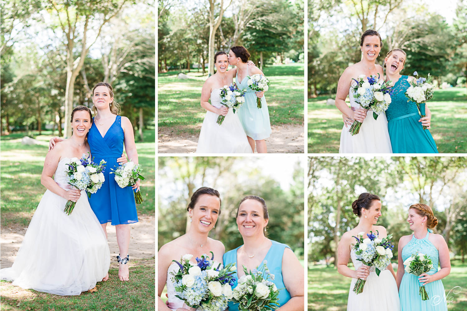 bride with each of her bridesmaids making silly faces in massechusetts