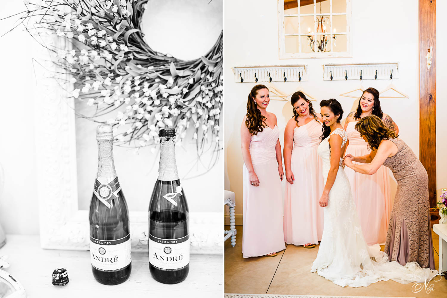 champagne and mother of bride buttoning up brides dress