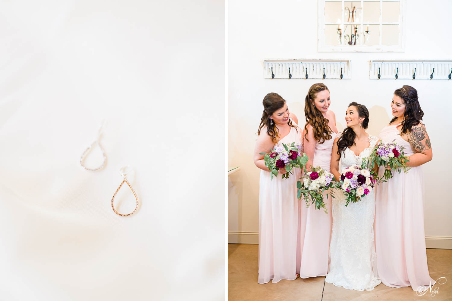 tear drop earrings and bridesmaids pose with bride at hiwassee river weddings