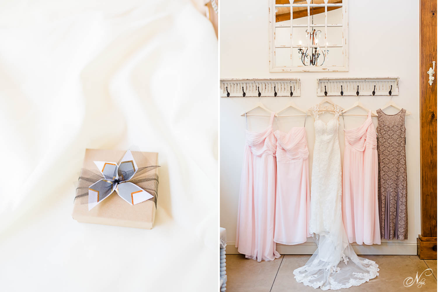 wedding gift and pale pink bridesmaids dresses
