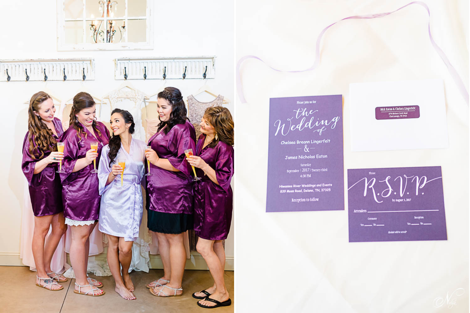 bride and her girls in purple bridesmaids robes in satin. And lavender invitations